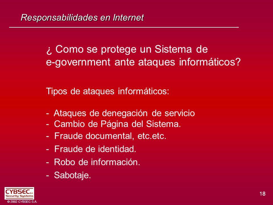 ¿ Como se protege un Sistema de e-government ante ataques informáticos? Tipos de ataques informáticos: - Ataques de denegación de servicio - Cambio de