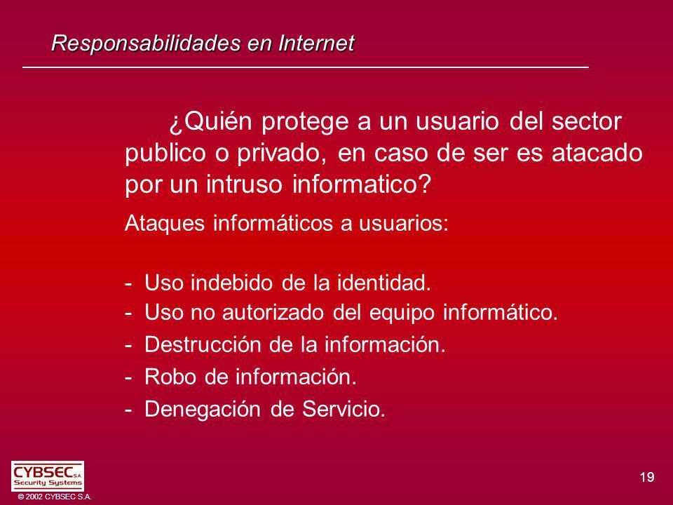 19 © 2002 CYBSEC S.A. Responsabilidades en Internet ¿Quién protege a un usuario del sector publico o privado, en caso de ser es atacado por un intruso