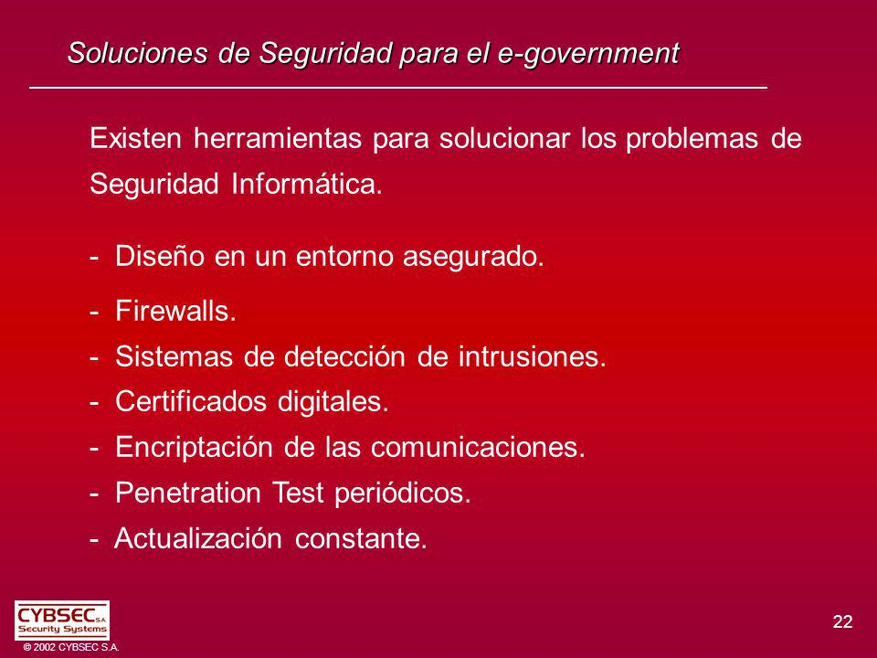 22 © 2002 CYBSEC S.A.
