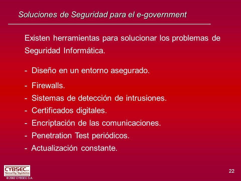 22 © 2002 CYBSEC S.A. Soluciones de Seguridad para el e-government Existen herramientas para solucionar los problemas de Seguridad Informática. - Dise