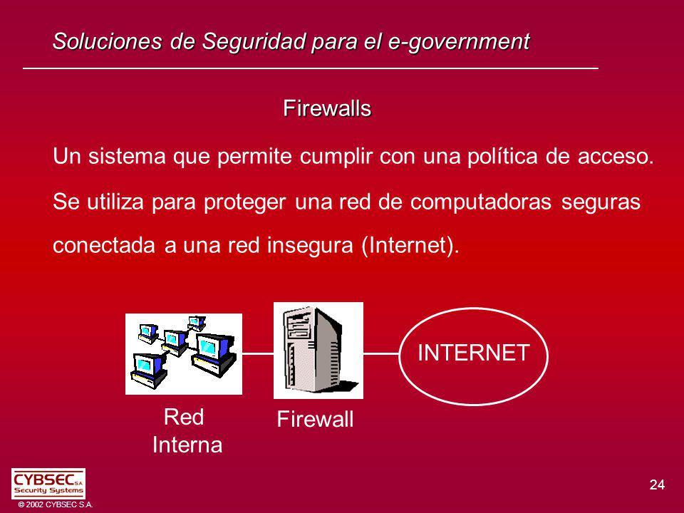 24 © 2002 CYBSEC S.A. Soluciones de Seguridad para el e-government Firewalls Un sistema que permite cumplir con una política de acceso. Se utiliza par
