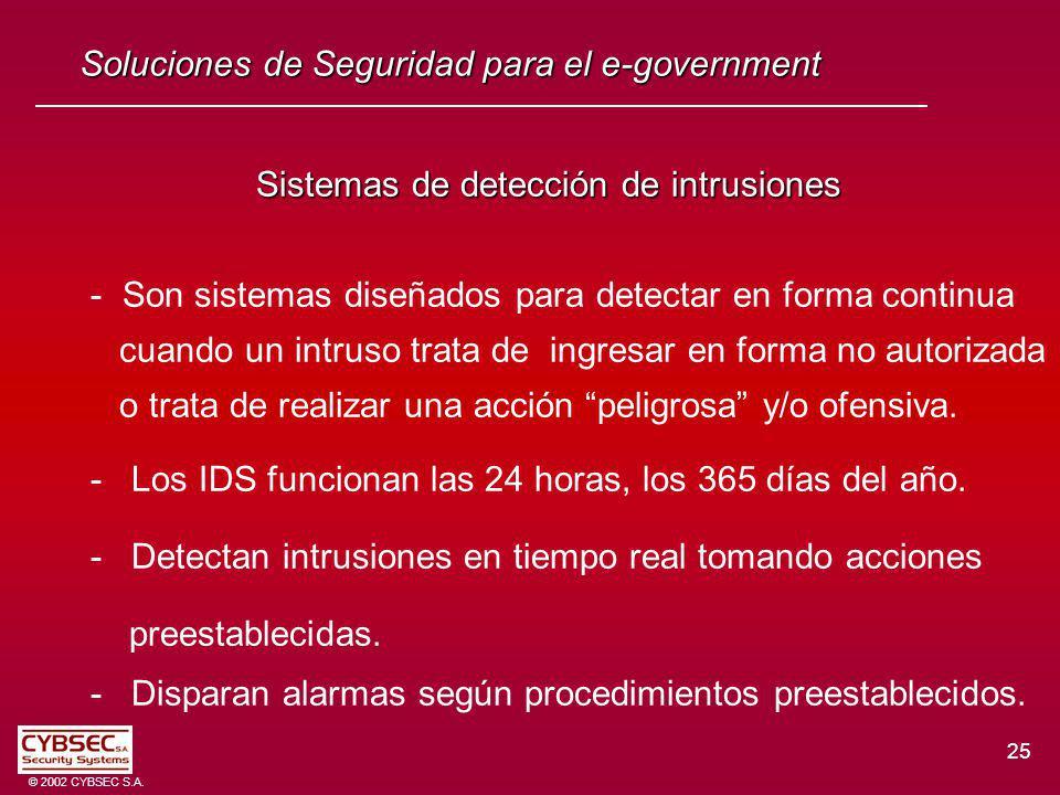 25 © 2002 CYBSEC S.A. Soluciones de Seguridad para el e-government Sistemas de detección de intrusiones - Son sistemas diseñados para detectar en form