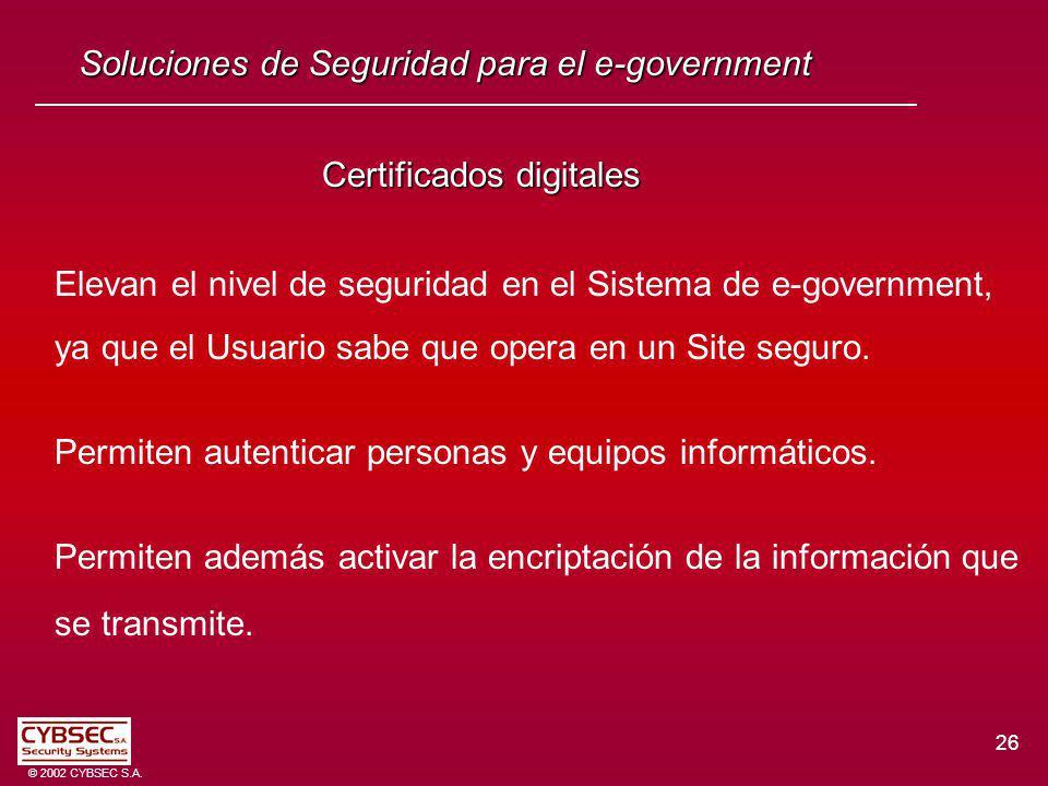26 © 2002 CYBSEC S.A. Certificados digitales Certificados digitales Elevan el nivel de seguridad en el Sistema de e-government, ya que el Usuario sabe