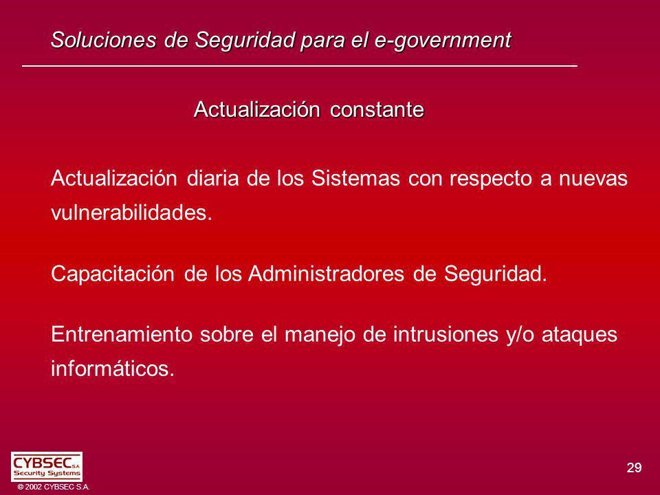 29 © 2002 CYBSEC S.A. Actualización constante Actualización diaria de los Sistemas con respecto a nuevas vulnerabilidades. Capacitación de los Adminis