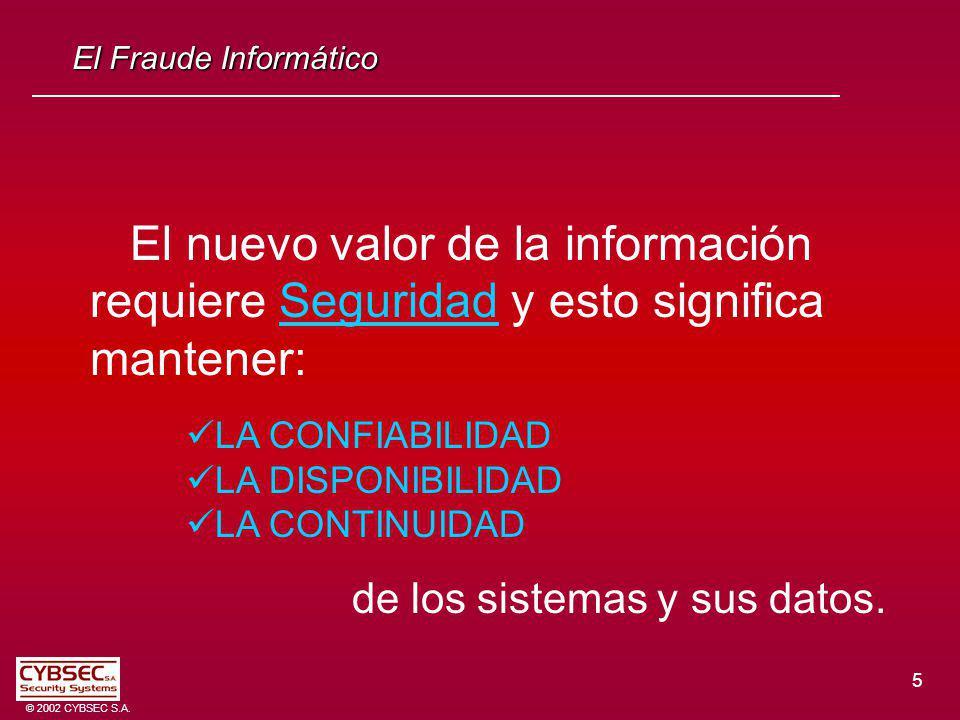 5 © 2002 CYBSEC S.A. El Fraude Informático El nuevo valor de la información requiere Seguridad y esto significa mantener: LA CONFIABILIDAD LA DISPONIB