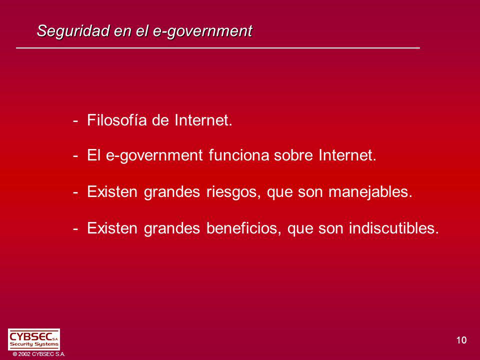 10 © 2002 CYBSEC S.A. Seguridad en el e-government - Filosofía de Internet.