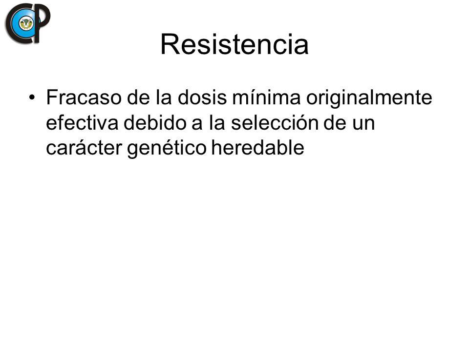 Resistencia Fracaso de la dosis mínima originalmente efectiva debido a la selección de un carácter genético heredable