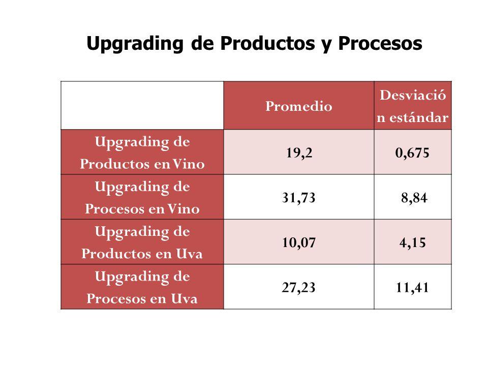 Promedio Desviació n estándar Upgrading de Productos en Vino 19,20,675 Upgrading de Procesos en Vino 31,73 8,84 Upgrading de Productos en Uva 10,074,15 Upgrading de Procesos en Uva 27,2311,41 Upgrading de Productos y Procesos