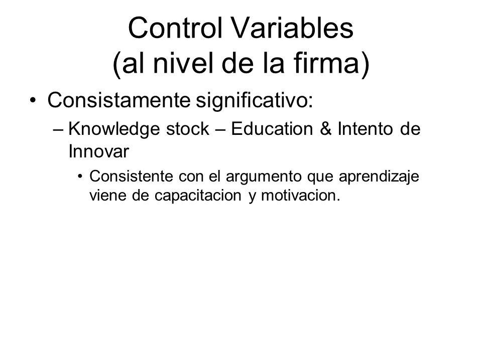 Control Variables (al nivel de la firma) Consistamente significativo: –Knowledge stock – Education & Intento de Innovar Consistente con el argumento que aprendizaje viene de capacitacion y motivacion.