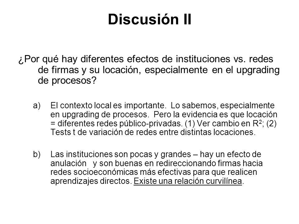 Discusión II ¿Por qué hay diferentes efectos de instituciones vs.