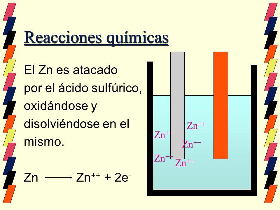 Reacciones químicas El Zn es atacado por el ácido sulfúrico, oxidándose y disolviéndose en el mismo. Zn Zn ++ + 2e - Zn ++