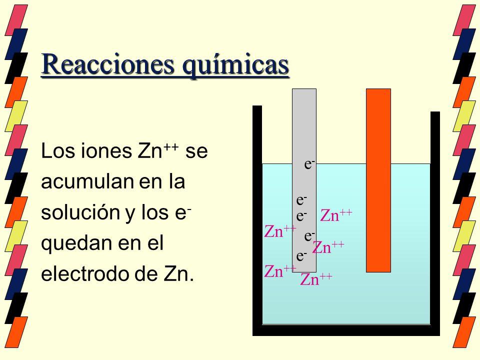 Reacciones químicas Los iones Zn ++ se acumulan en la solución y los e - quedan en el electrodo de Zn. e-e- e-e- e-e- e-e- e-e- Zn ++