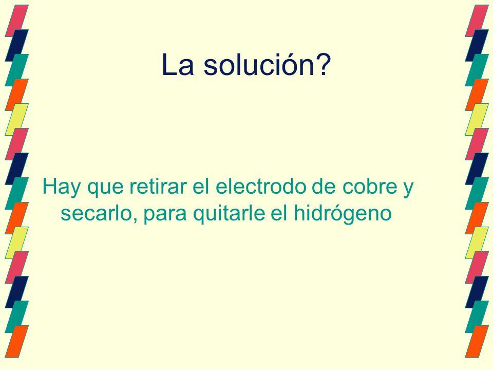La solución? Hay que retirar el electrodo de cobre y secarlo, para quitarle el hidrógeno