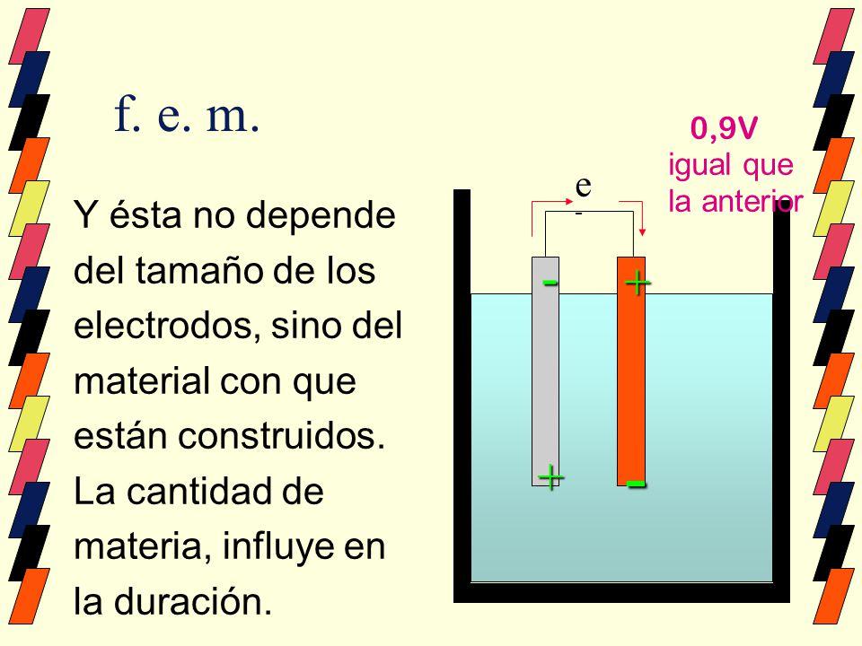 f. e. m. Y ésta no depende del tamaño de los electrodos, sino del material con que están construidos. La cantidad de materia, influye en la duración.