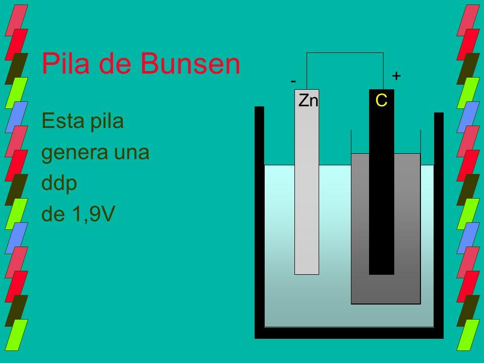Pila de Bunsen Esta pila genera una ddp de 1,9V ZnC - +
