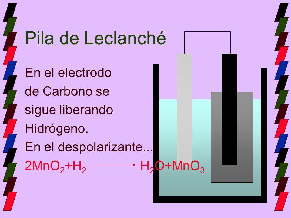Pila de Leclanché En el electrodo de Carbono se sigue liberando Hidrógeno. En el despolarizante... 2MnO 2 +H 2 H 2 O+MnO 3