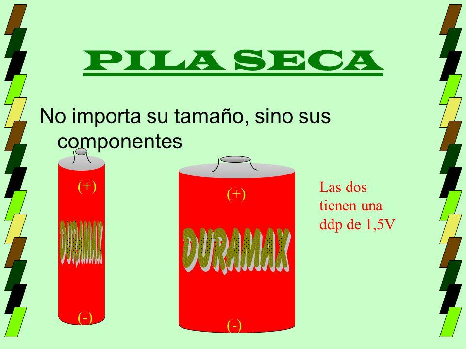 PILA SECA No importa su tamaño, sino sus componentes (+) (-) (+) (-) Las dos tienen una ddp de 1,5V