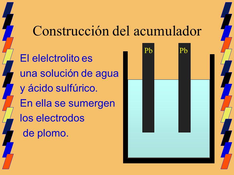 Construcción del acumulador El elelctrolito es una solución de agua y ácido sulfúrico. En ella se sumergen los electrodos de plomo. Pb