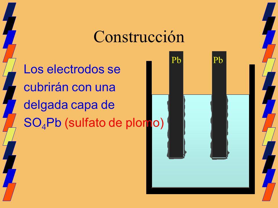 Construcción Los electrodos se cubrirán con una delgada capa de SO 4 Pb (sulfato de plomo) Pb