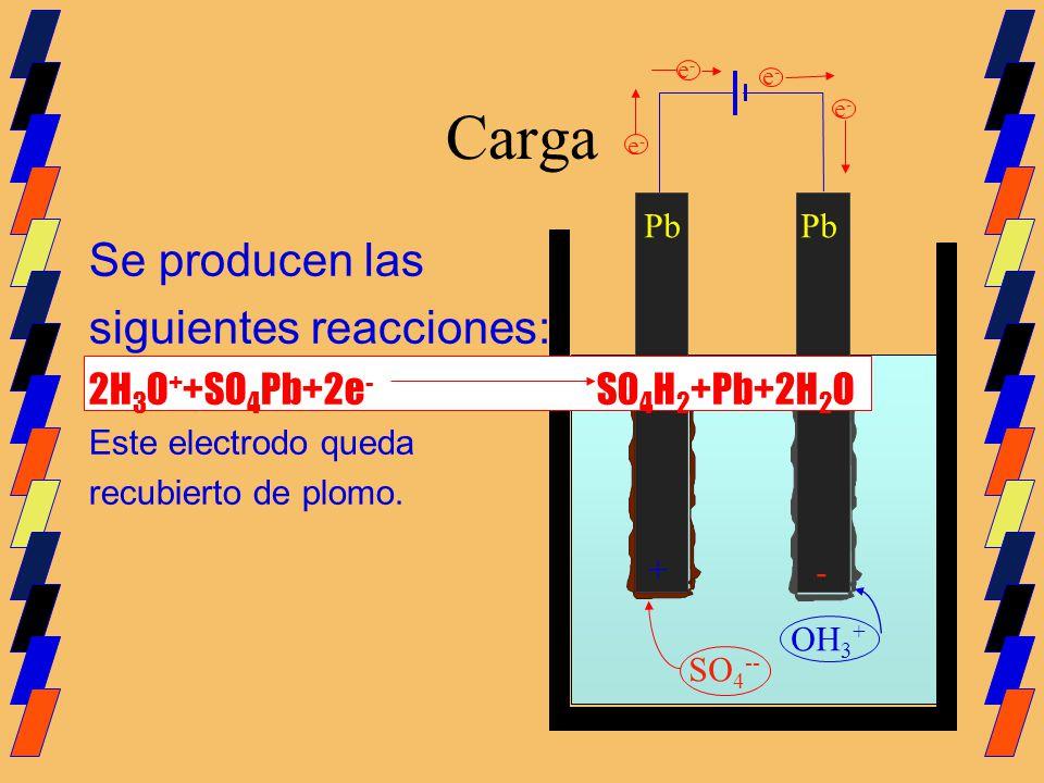 Carga Pb SO 4 -- Se producen las siguientes reacciones: 2H 3 O + +SO 4 Pb+2e - S0 4 H 2 +Pb+2H 2 O Este electrodo queda recubierto de plomo. OH 3 + e-