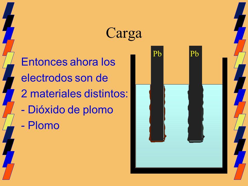 Carga Pb Entonces ahora los electrodos son de 2 materiales distintos: - Dióxido de plomo - Plomo