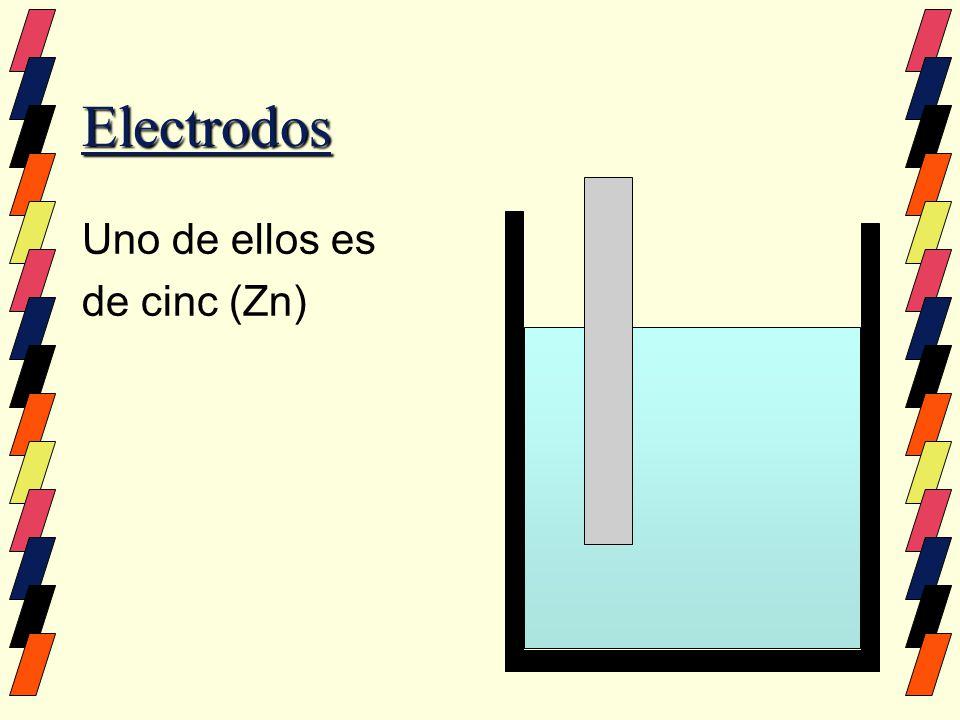 Electrodos Uno de ellos es de cinc (Zn) El otro es de cobre (Cu)