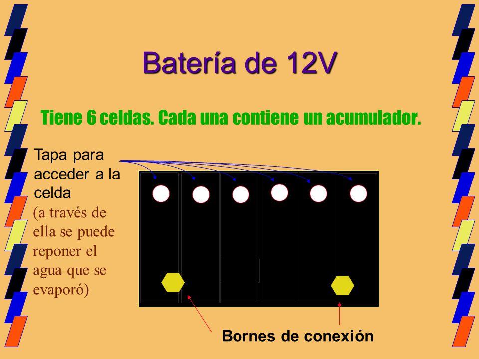 Tiene 6 celdas. Cada una contiene un acumulador. Batería de 12V Bornes de conexión Tapa para acceder a la celda (a través de ella se puede reponer el