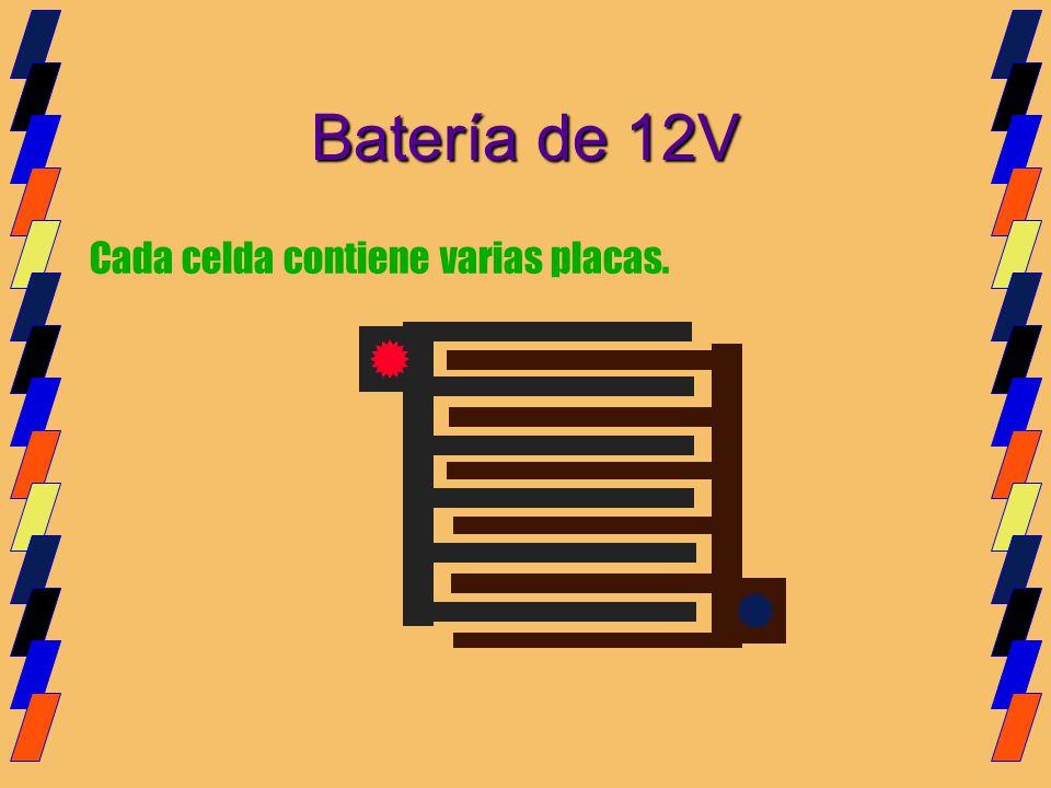 Cada celda contiene varias placas. Batería de 12V
