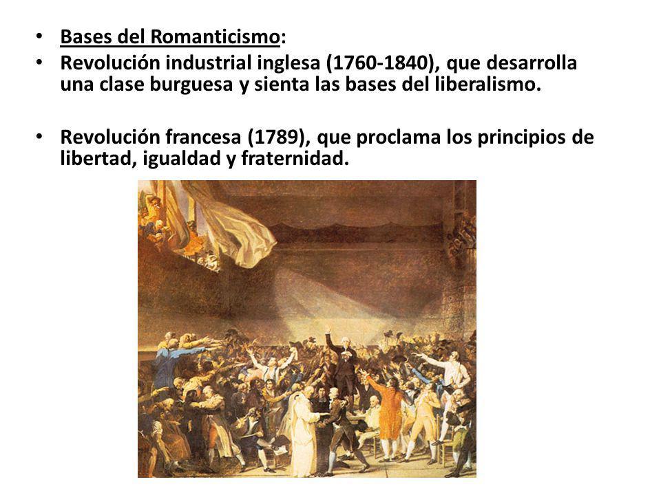 Bases del Romanticismo: Revolución industrial inglesa (1760-1840), que desarrolla una clase burguesa y sienta las bases del liberalismo. Revolución fr