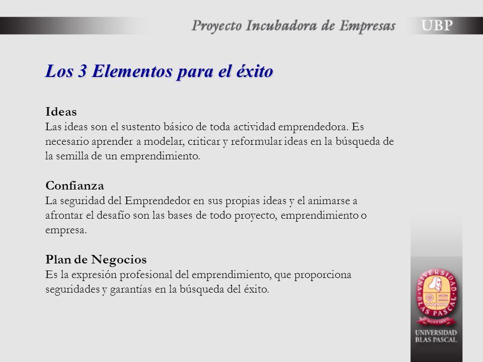 Los 3 Elementos para el éxito Ideas Las ideas son el sustento básico de toda actividad emprendedora.