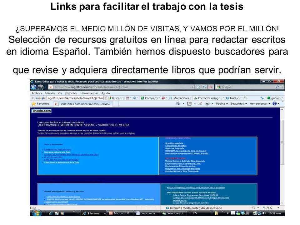 Links para facilitar el trabajo con la tesis ¿SUPERAMOS EL MEDIO MILLÓN DE VISITAS, Y VAMOS POR EL MILLÓN! Selección de recursos gratuitos en línea pa