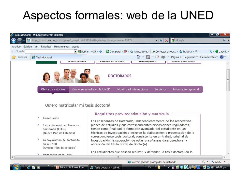 Aspectos formales: web de la UNED