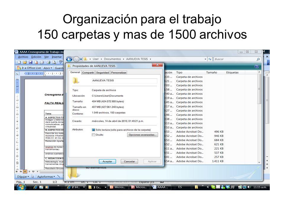 Organización para el trabajo 150 carpetas y mas de 1500 archivos
