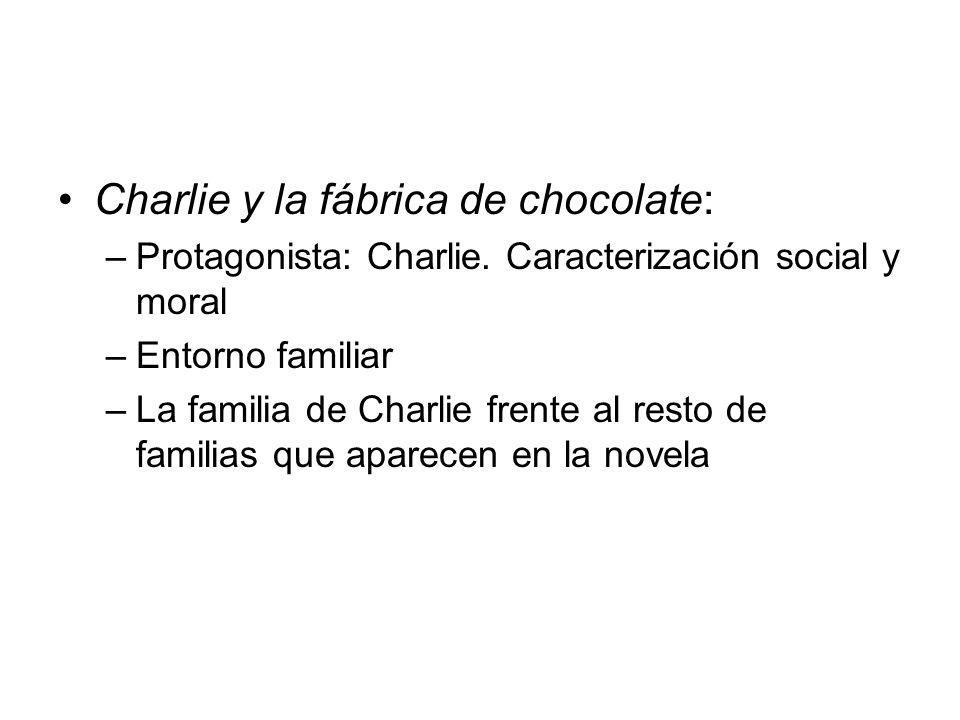 Charlie y la fábrica de chocolate: –Protagonista: Charlie. Caracterización social y moral –Entorno familiar –La familia de Charlie frente al resto de