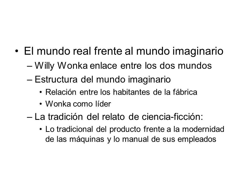 El mundo real frente al mundo imaginario –Willy Wonka enlace entre los dos mundos –Estructura del mundo imaginario Relación entre los habitantes de la