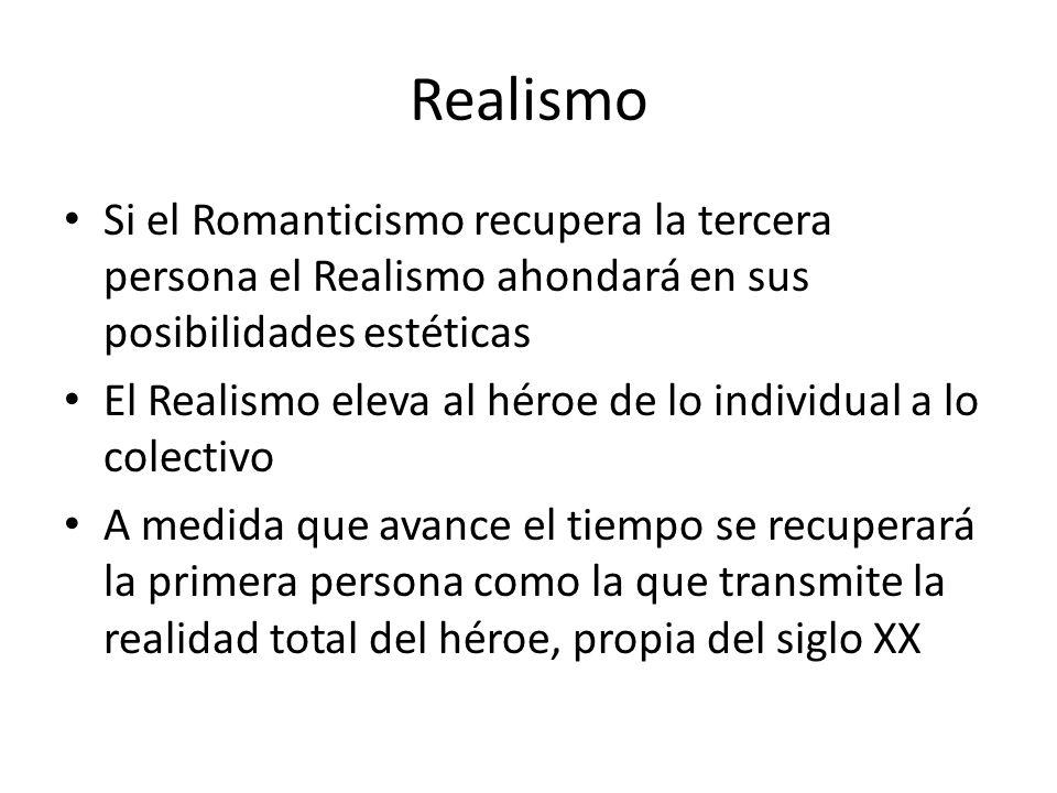 Realismo Si el Romanticismo recupera la tercera persona el Realismo ahondará en sus posibilidades estéticas El Realismo eleva al héroe de lo individua