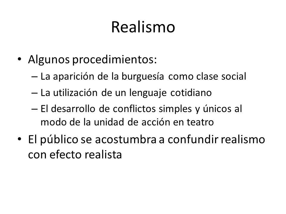 Realismo Algunos procedimientos: – La aparición de la burguesía como clase social – La utilización de un lenguaje cotidiano – El desarrollo de conflic