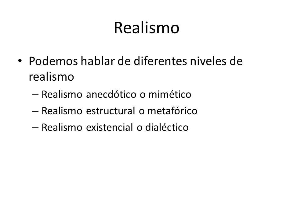 Realismo Podemos hablar de diferentes niveles de realismo – Realismo anecdótico o mimético – Realismo estructural o metafórico – Realismo existencial