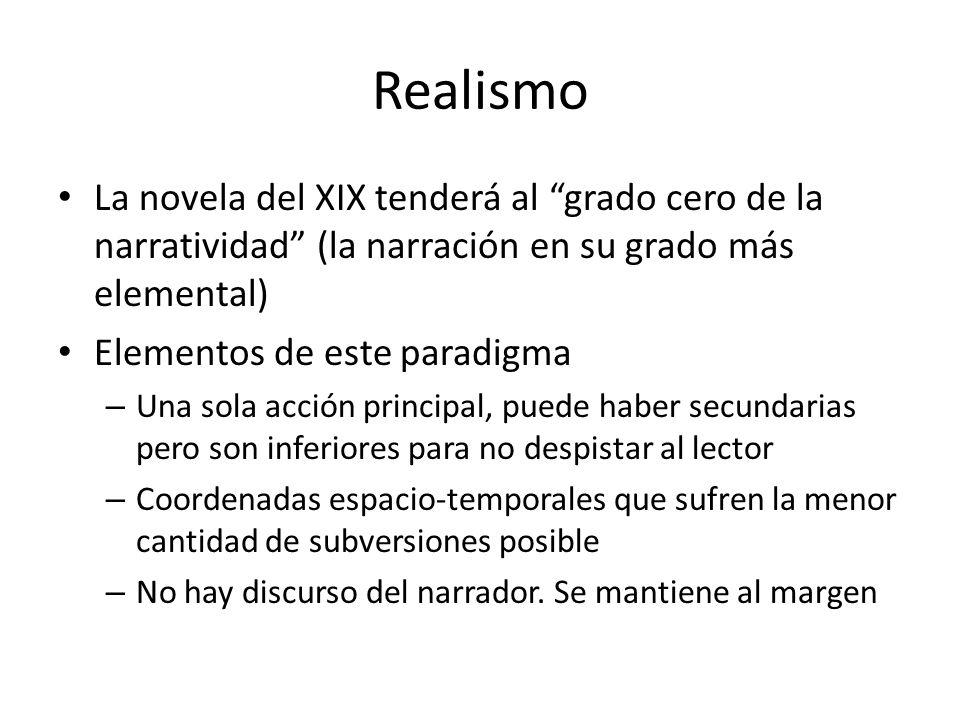 Realismo La novela del XIX tenderá al grado cero de la narratividad (la narración en su grado más elemental) Elementos de este paradigma – Una sola ac