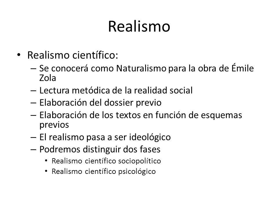 Realismo Realismo científico: – Se conocerá como Naturalismo para la obra de Émile Zola – Lectura metódica de la realidad social – Elaboración del dos