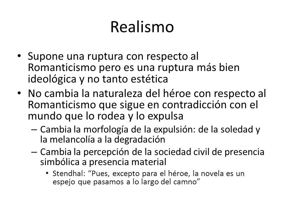Realismo Supone una ruptura con respecto al Romanticismo pero es una ruptura más bien ideológica y no tanto estética No cambia la naturaleza del héroe