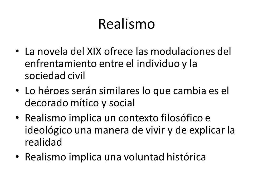 Realismo La novela del XIX ofrece las modulaciones del enfrentamiento entre el individuo y la sociedad civil Lo héroes serán similares lo que cambia e
