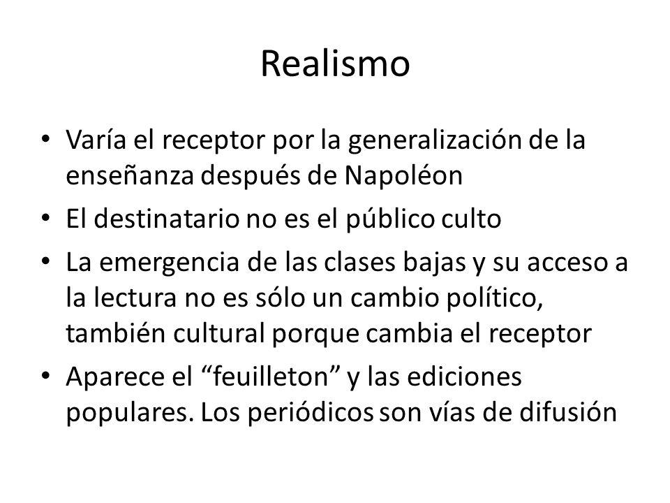 Realismo Varía el receptor por la generalización de la enseñanza después de Napoléon El destinatario no es el público culto La emergencia de las clase