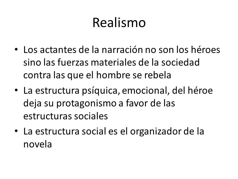 Realismo Los actantes de la narración no son los héroes sino las fuerzas materiales de la sociedad contra las que el hombre se rebela La estructura ps