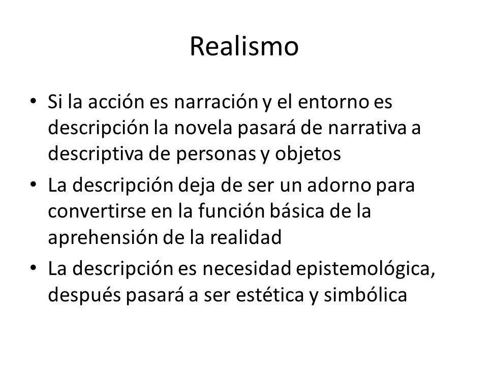 Realismo Si la acción es narración y el entorno es descripción la novela pasará de narrativa a descriptiva de personas y objetos La descripción deja d