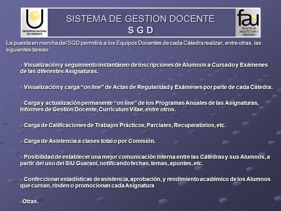 La puesta en marcha del SGD permitirá a los Equipos Docentes de cada Cátedra realizar, entre otras, las siguientes tareas: Visualización y seguimiento
