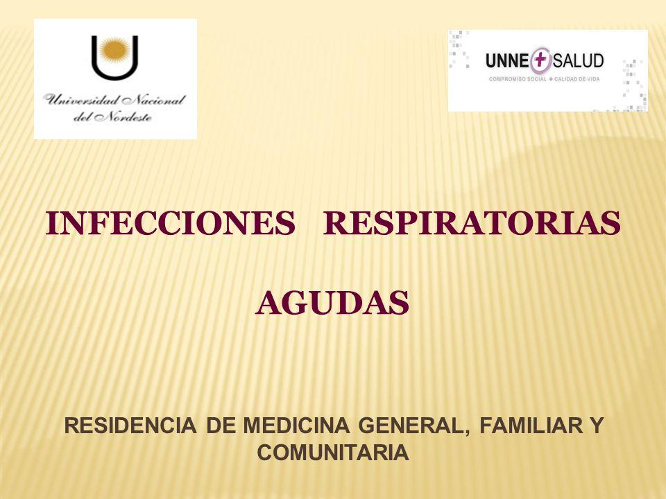 INFECCIONES RESPIRATORIAS AGUDAS RESIDENCIA DE MEDICINA GENERAL, FAMILIAR Y COMUNITARIA