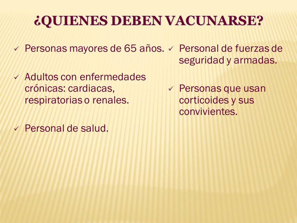 Personas mayores de 65 años. Adultos con enfermedades crónicas: cardiacas, respiratorias o renales. Personal de salud. Personal de fuerzas de segurida