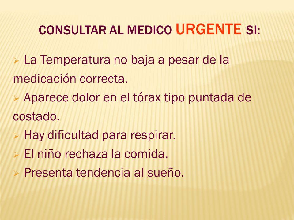 CONSULTAR AL MEDICO URGENTE SI: La Temperatura no baja a pesar de la medicación correcta. Aparece dolor en el tórax tipo puntada de costado. Hay dific