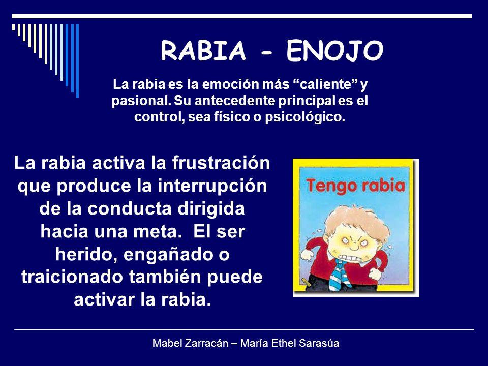 RABIA - ENOJO La rabia es la emoción más caliente y pasional. Su antecedente principal es el control, sea físico o psicológico. La rabia activa la fru